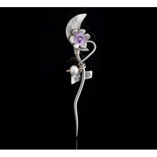 """Handmade Brooch """"Moon Flower"""""""