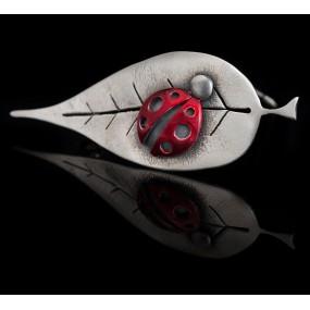 """Handmade Brooch """"Leaf Ladybug"""""""