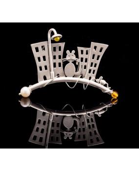 """Handmade Brooch """"Cat City"""""""