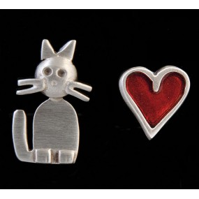 "Handmade earrings ""Cat - Heart"""