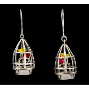 "Handmade earrings ""Cage - Bird"""