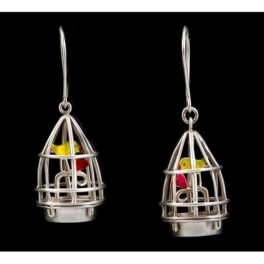 "Handmade earrings ""Cage - Bird"""
