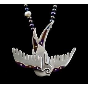 "Handmade necklace ""Bird Titanium"""