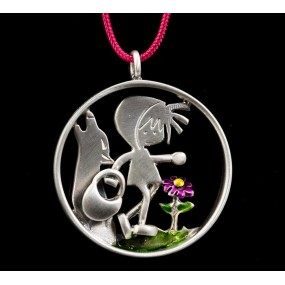 """Handmade necklace """"Red Riding Hood Wolf"""""""
