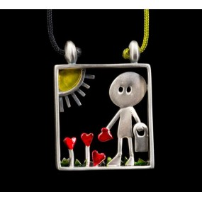 """Handmade necklace """"Little man who cultivates hearts"""""""