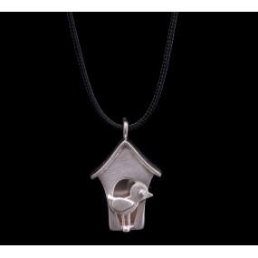 "Handmade necklace ""Little house with a bird"""