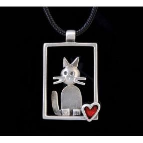 "Handmade necklace ""Frame Cat"""