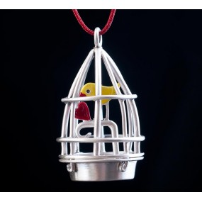 """Handmade necklace """"Bird in a Cage"""""""