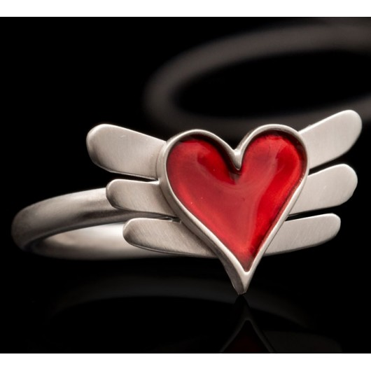 """Handmade ring """"Heart with Wings"""""""