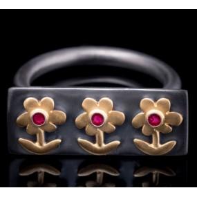 "Handmade ring ""Three Flowers"""